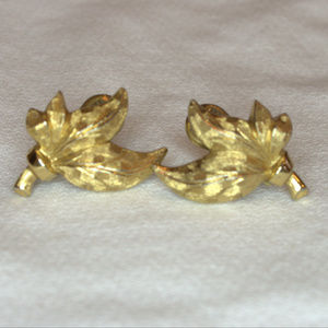 vintage Monet earrings gold leaves